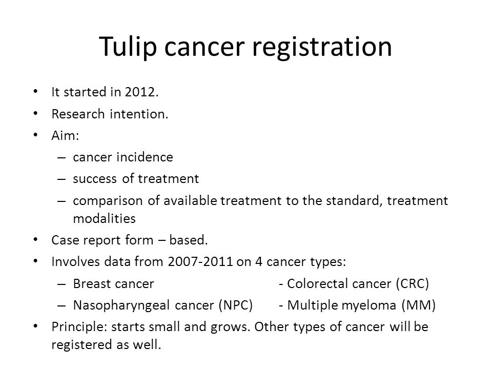 Tulip cancer registration