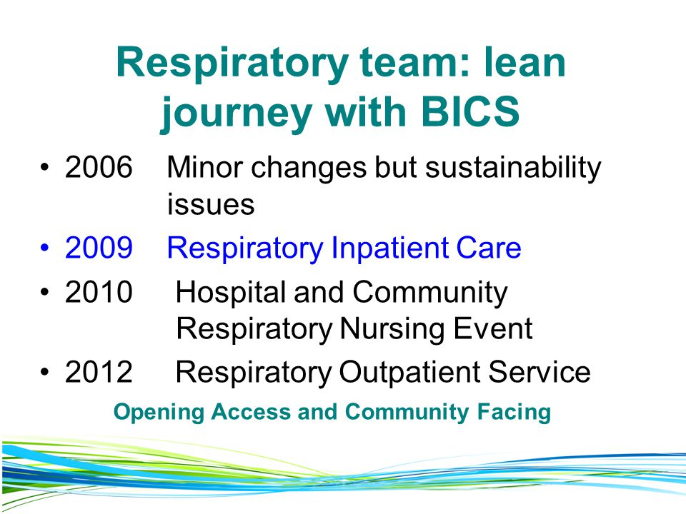 Respiratory team: lean journey with BICS