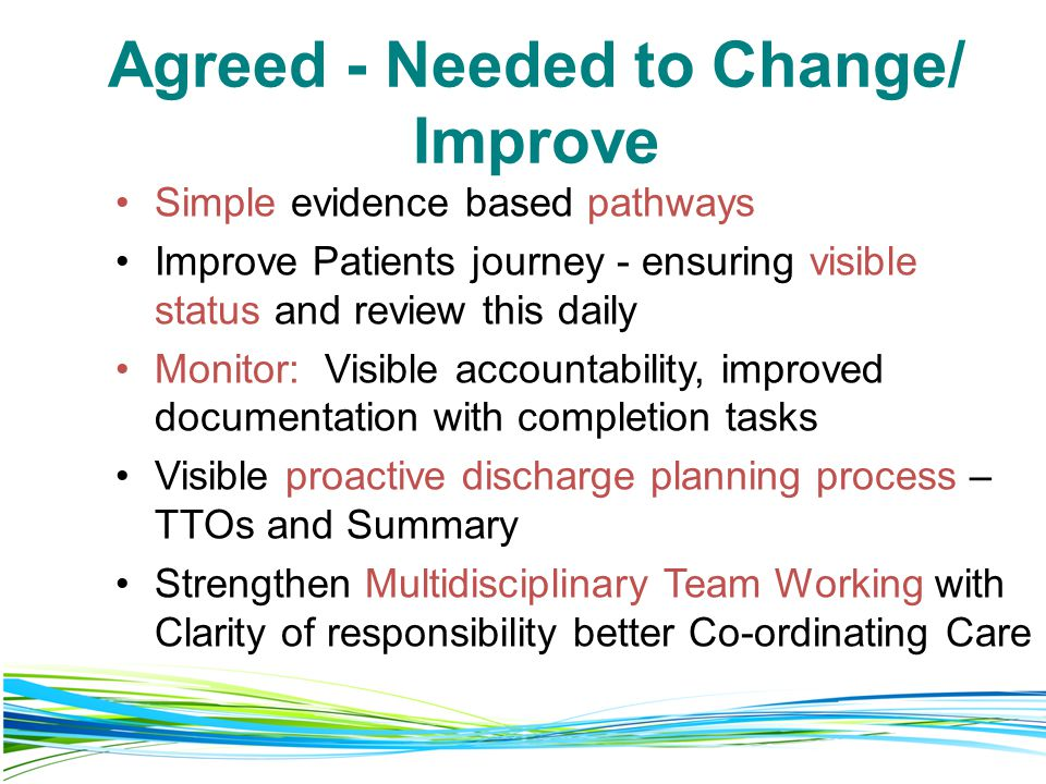 Agreed - Needed to Change/ Improve
