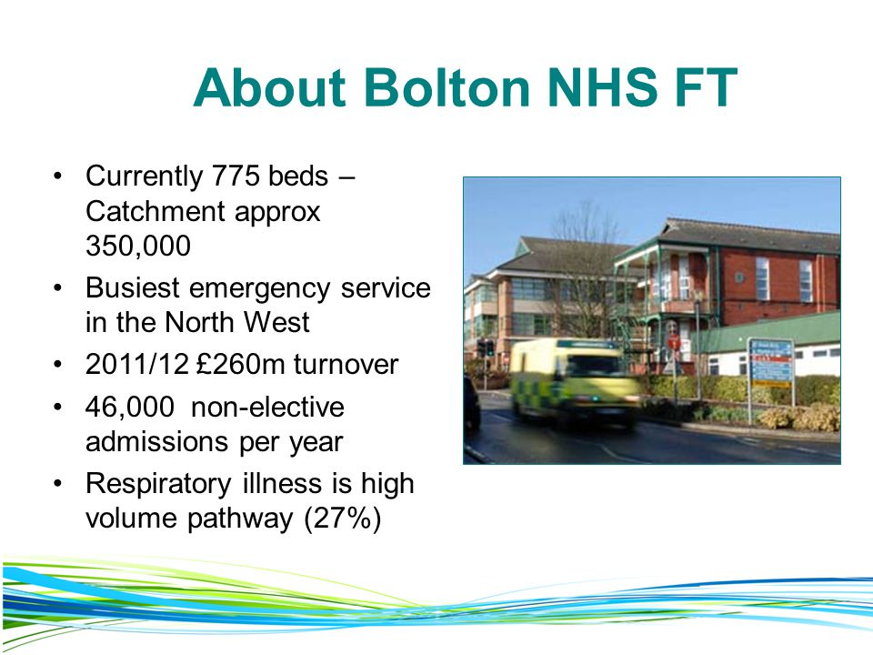 About Bolton NHS FT Currently 775 beds – Catchment approx 350,000