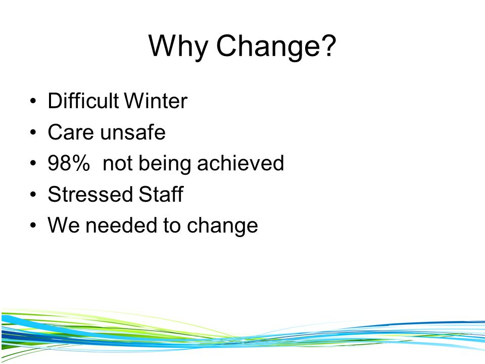 Why Change Difficult Winter Care unsafe 98% not being achieved