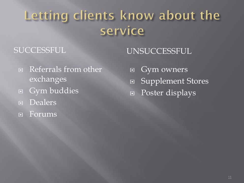 Letting clients know about the service