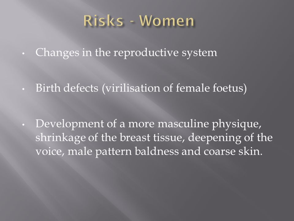 Risks - Women Changes in the reproductive system