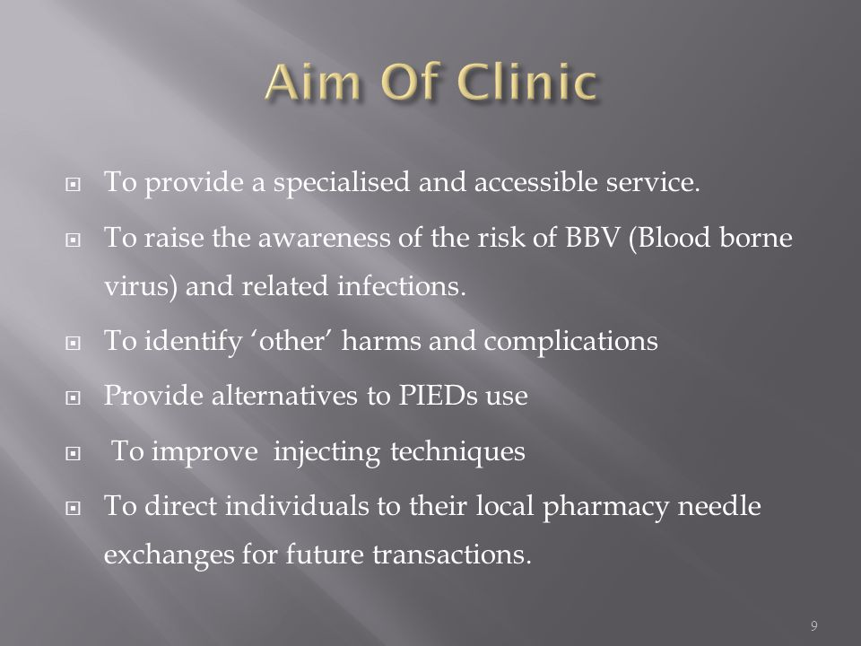 Aim Of Clinic To provide a specialised and accessible service.