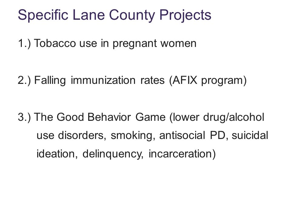 Specific Lane County Projects