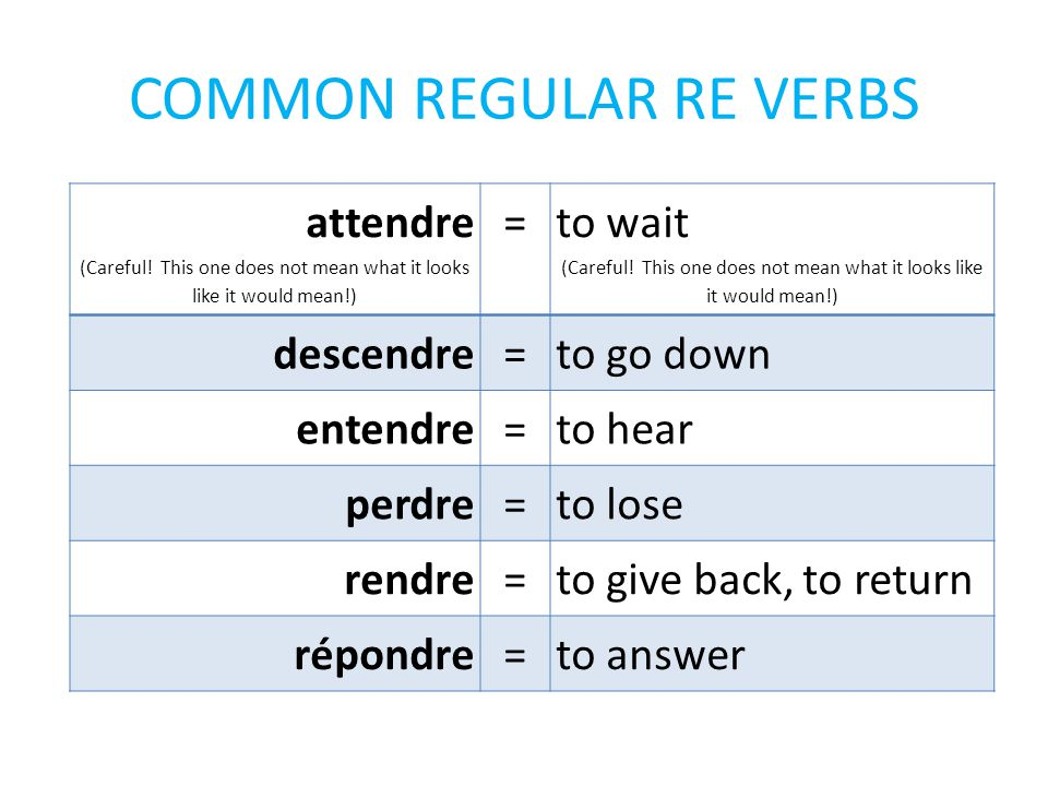 COMMON REGULAR RE VERBS