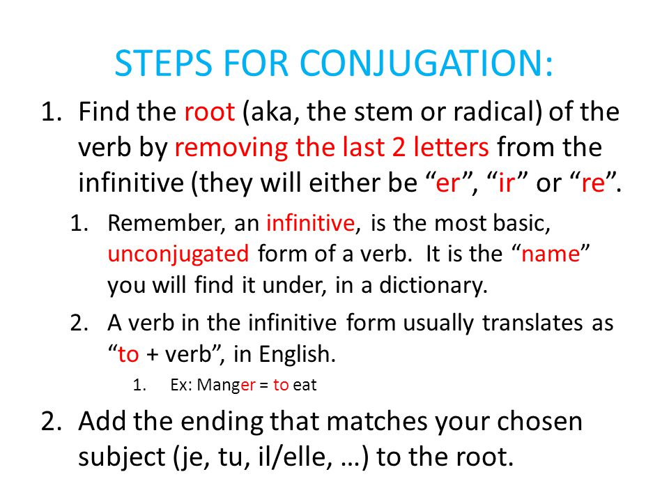 STEPS FOR CONJUGATION: