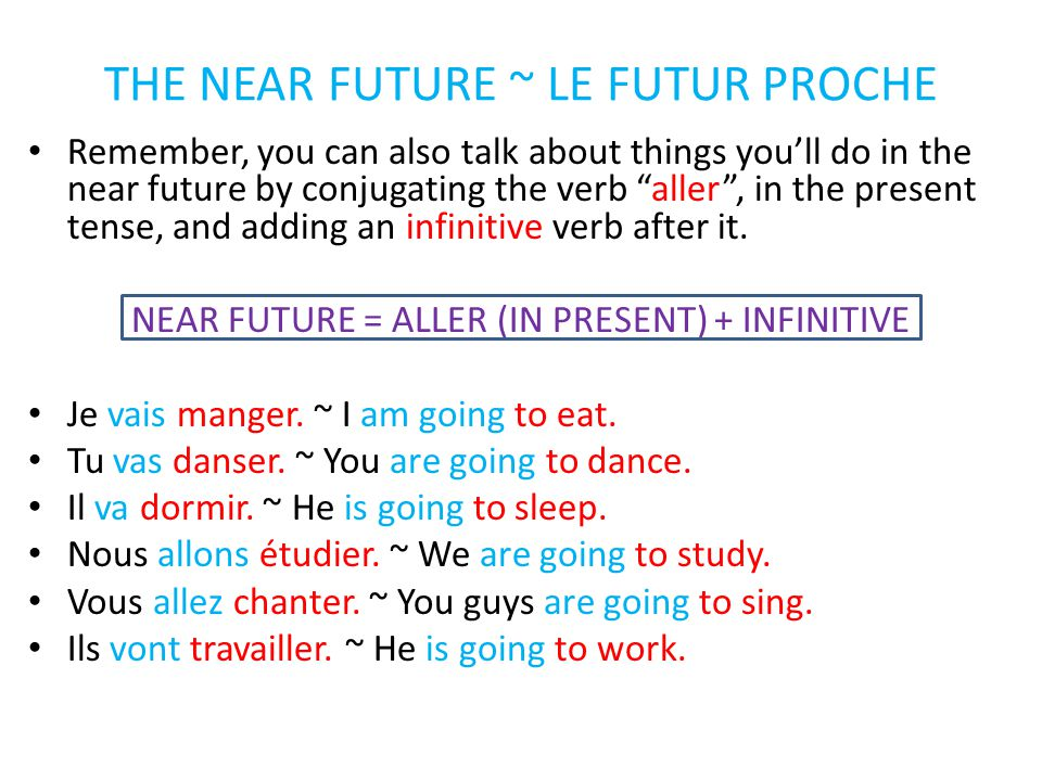 THE NEAR FUTURE ~ LE FUTUR PROCHE