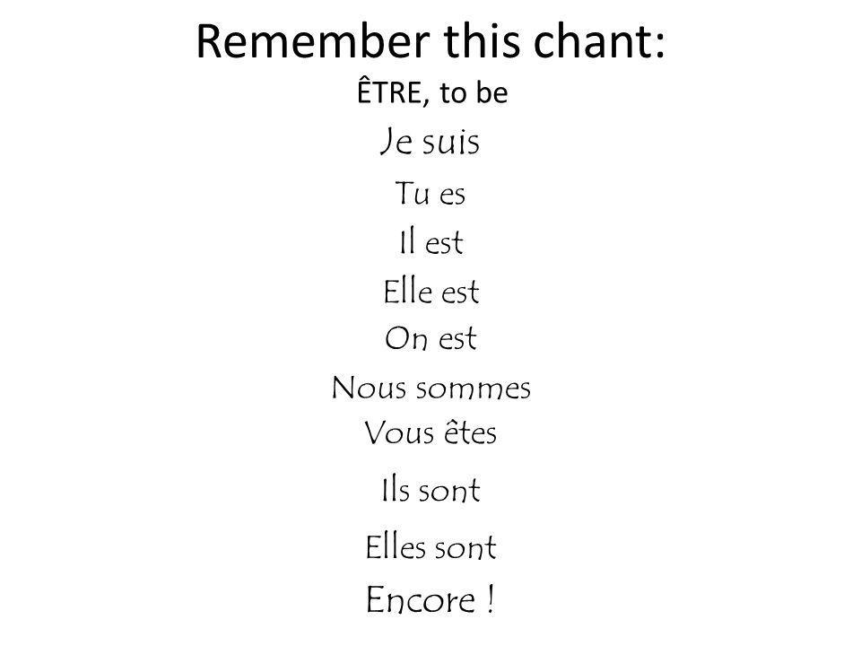 Remember this chant: Je suis Encore ! ÊTRE, to be Tu es Il est
