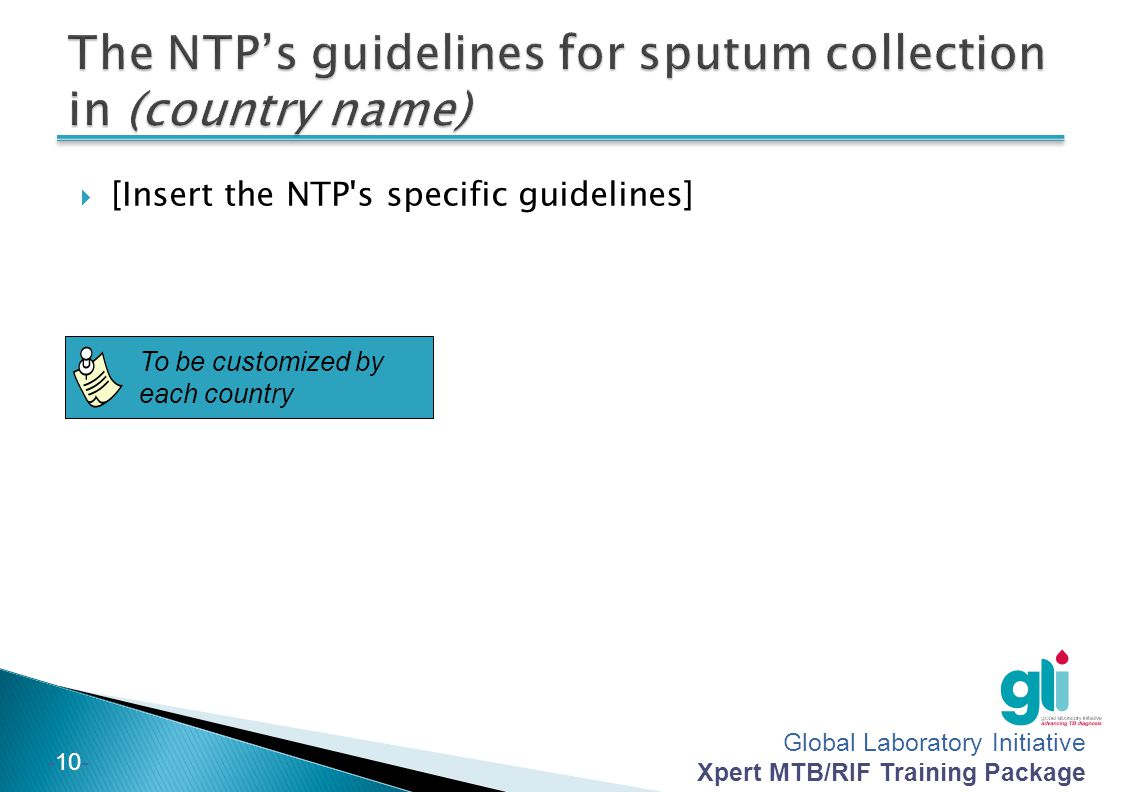 The NTP's guidelines for sputum collection in (country name)