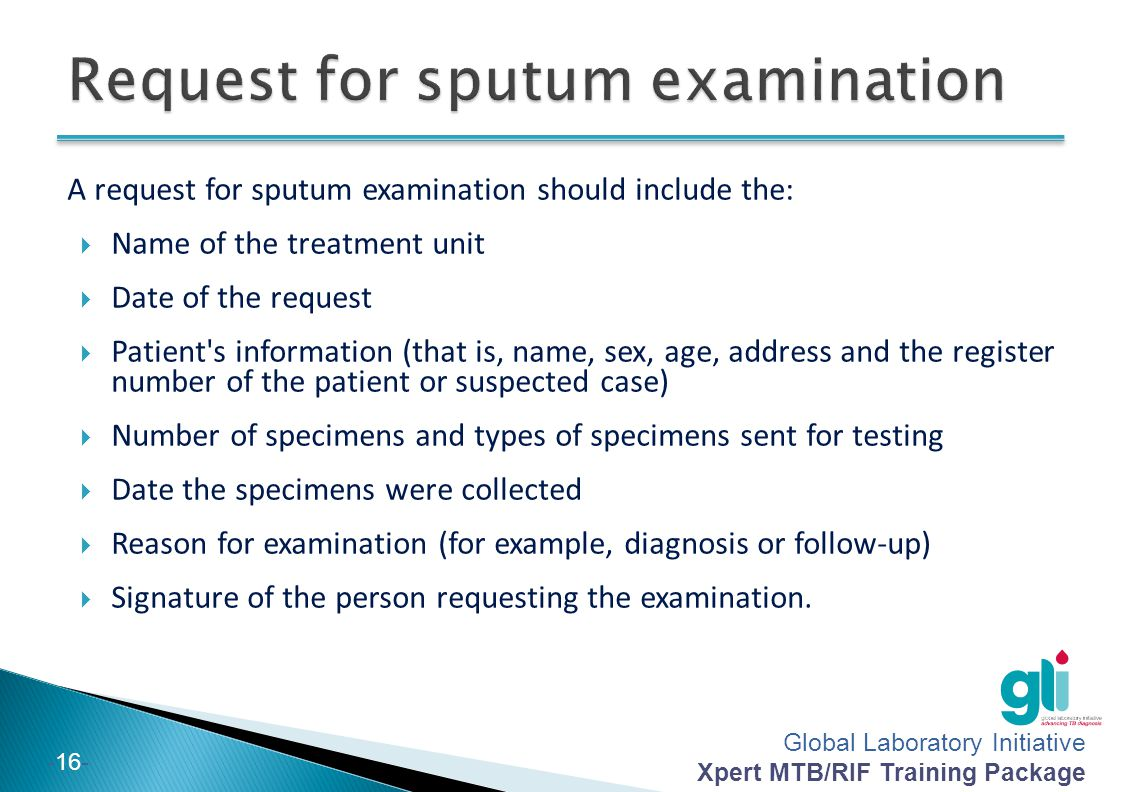 Request for sputum examination