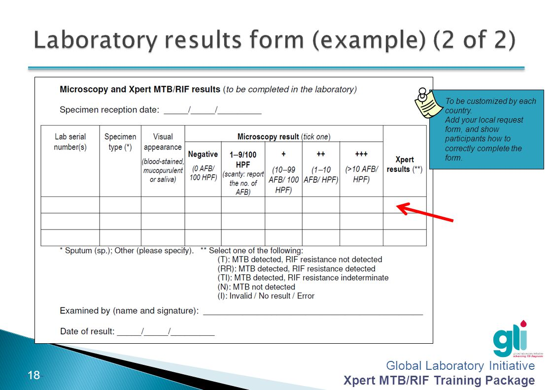 Laboratory results form (example) (2 of 2)