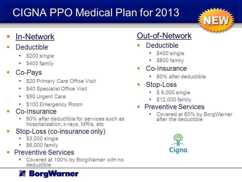 CIGNA PPO Medical Plan for 2013