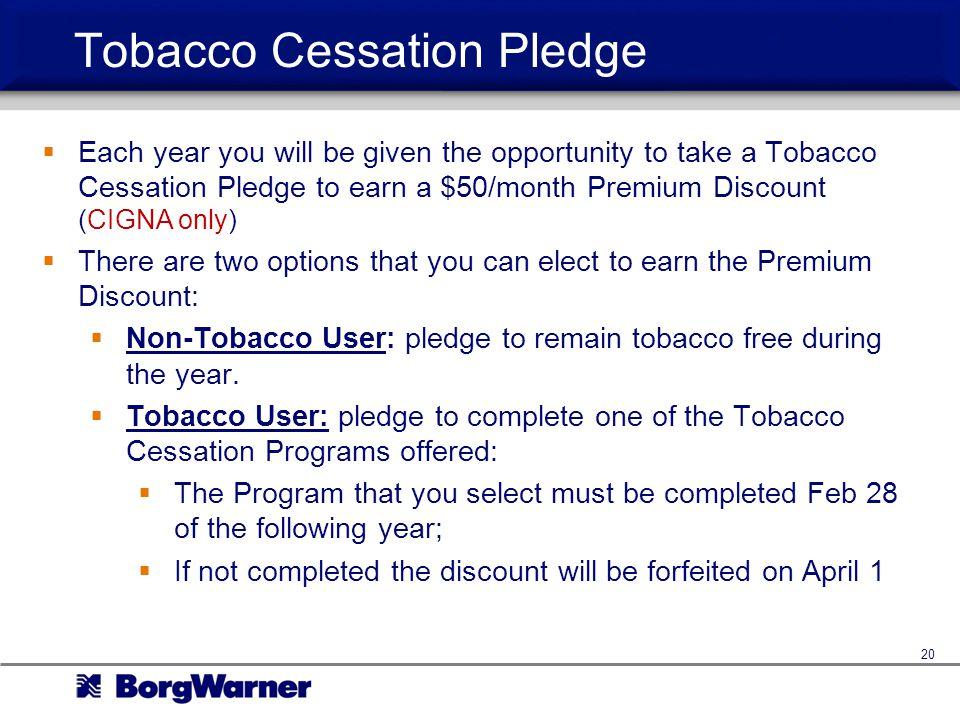 Tobacco Cessation Pledge