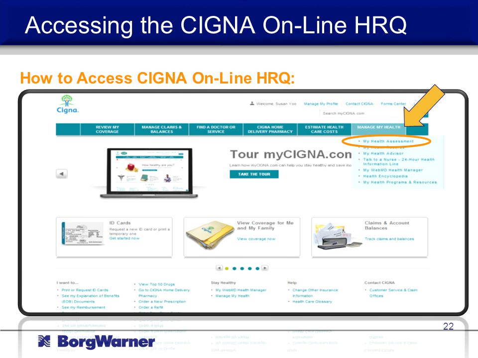 Accessing the CIGNA On-Line HRQ