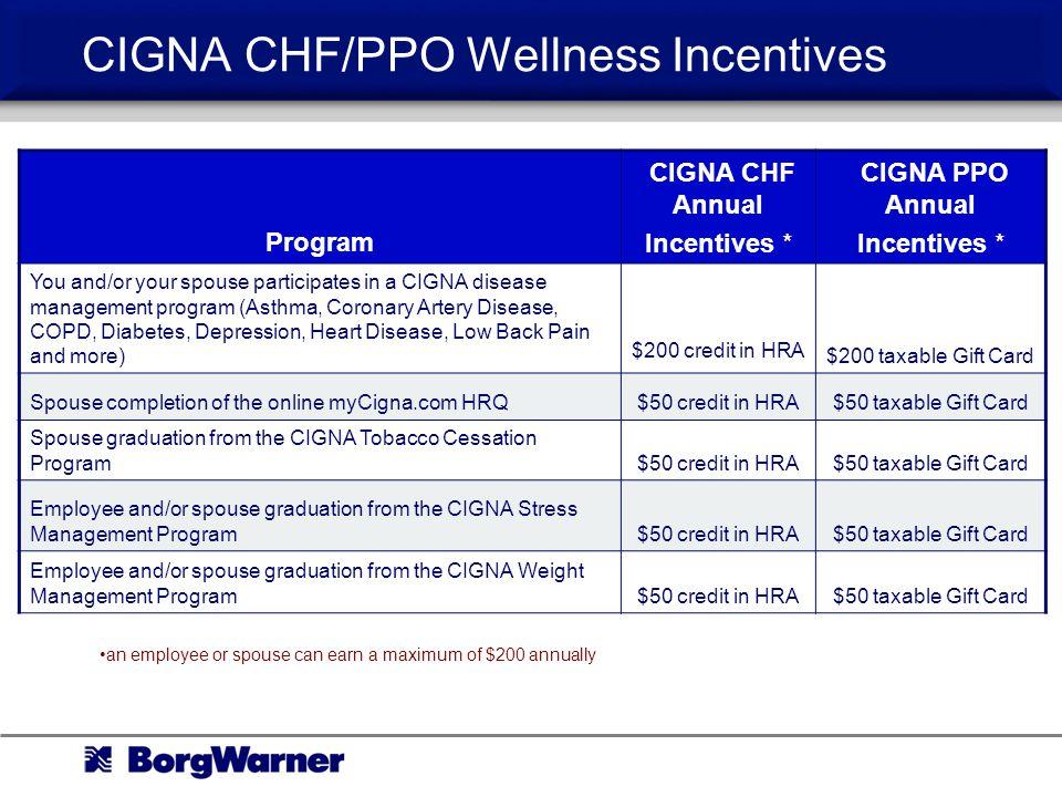 CIGNA CHF/PPO Wellness Incentives