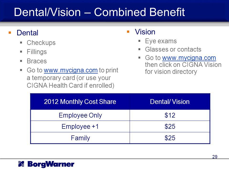 Dental/Vision – Combined Benefit
