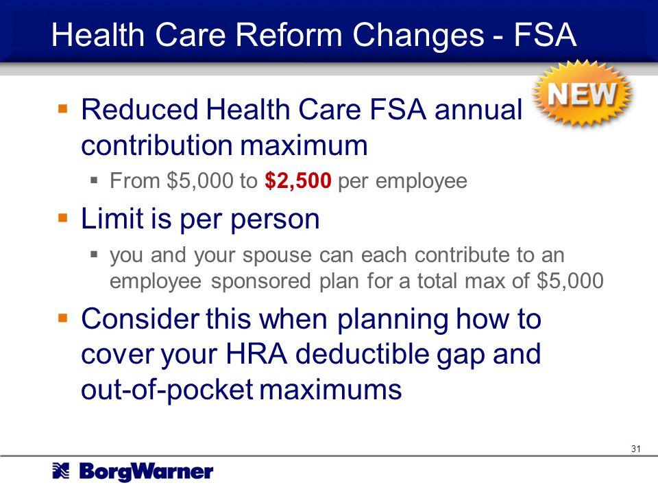 Health Care Reform Changes - FSA
