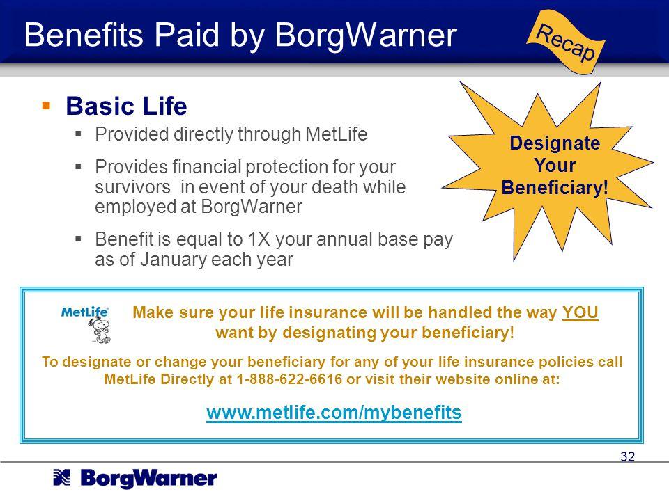 Benefits Paid by BorgWarner