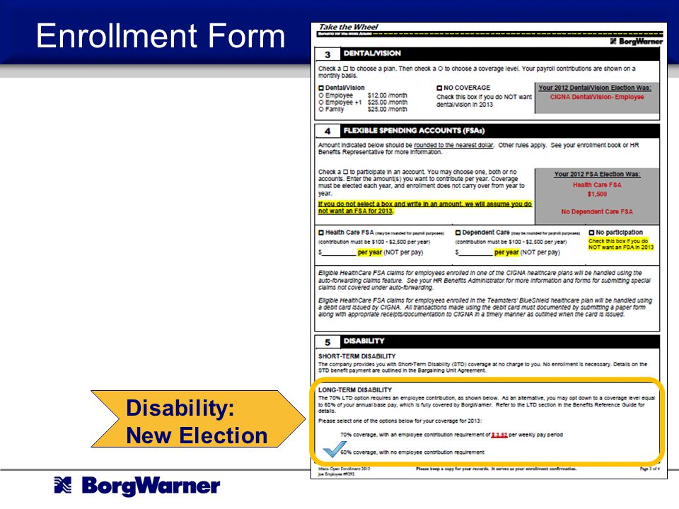 Enrollment Form Disability: New Election