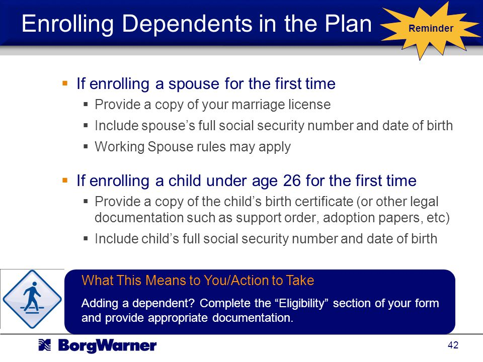 Enrolling Dependents in the Plan
