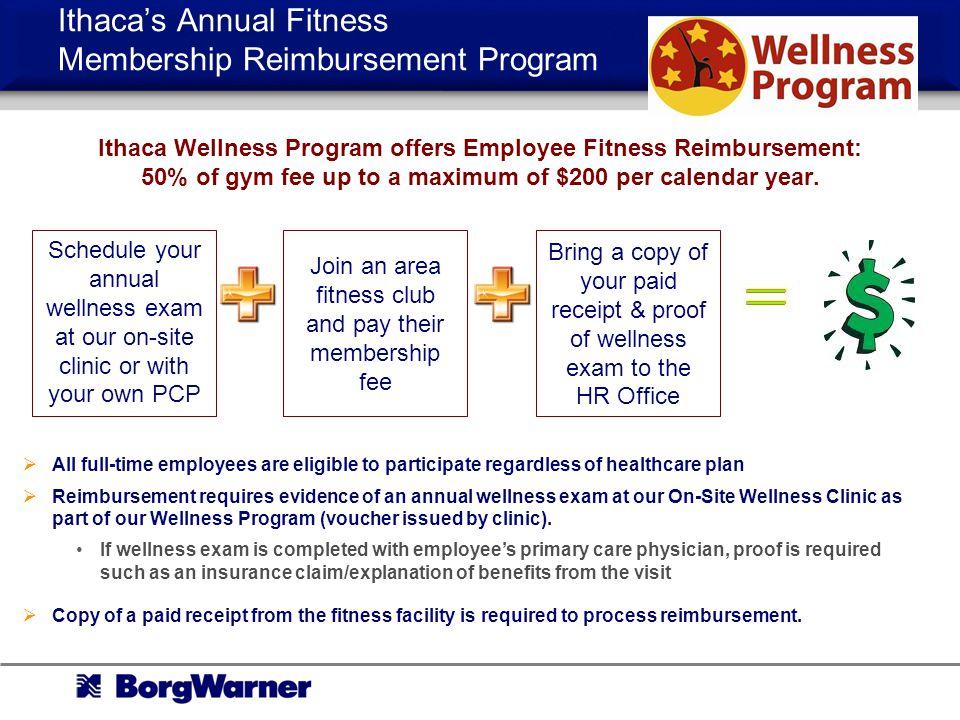 Ithaca's Annual Fitness Membership Reimbursement Program
