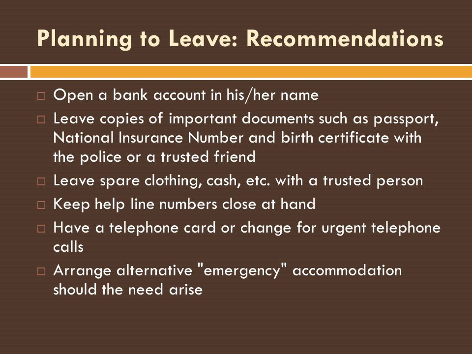 Planning to Leave: Recommendations