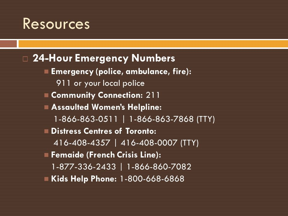 Resources 24-Hour Emergency Numbers