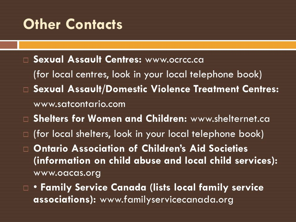 Other Contacts Sexual Assault Centres: