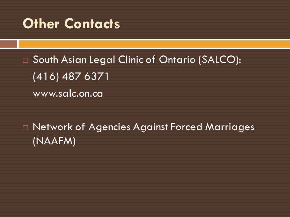 Other Contacts South Asian Legal Clinic of Ontario (SALCO):