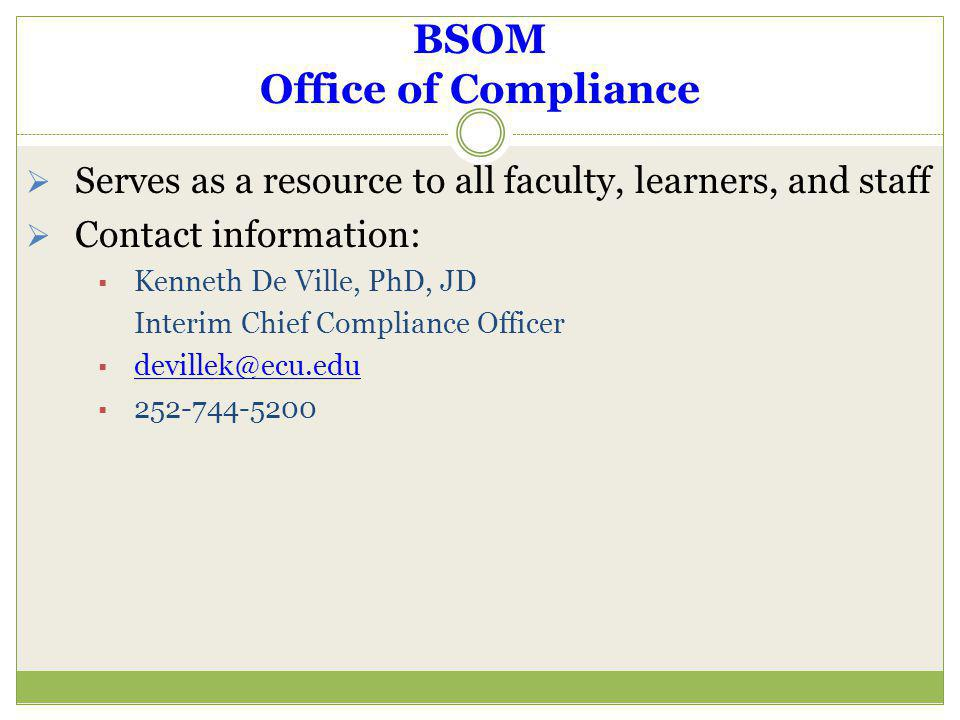 BSOM Office of Compliance