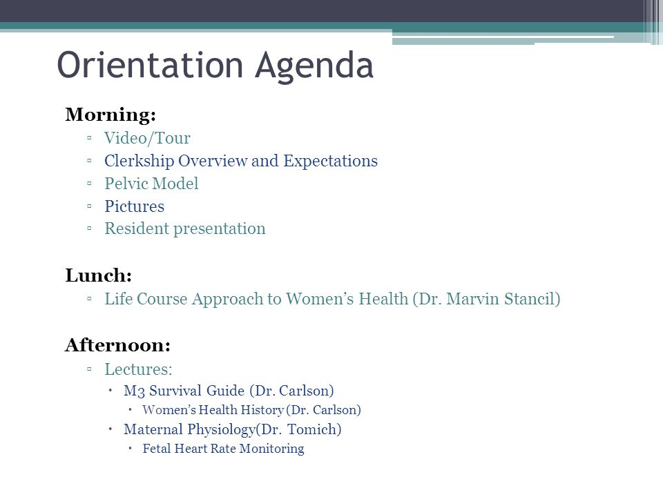 Orientation Agenda Morning: Lunch: Afternoon: Video/Tour