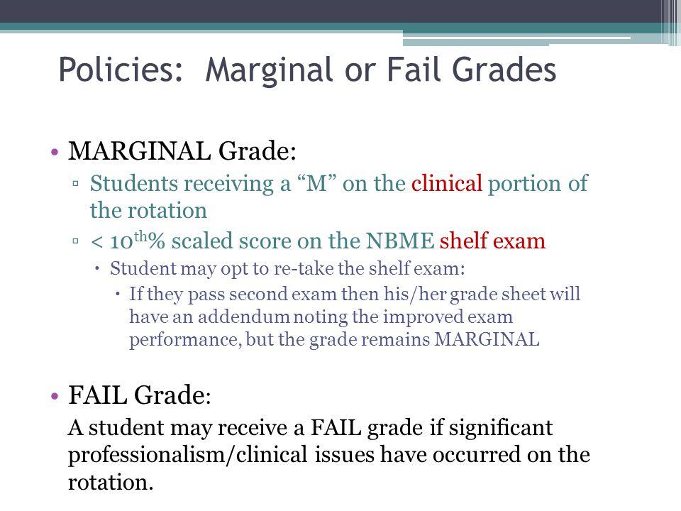 Policies: Marginal or Fail Grades