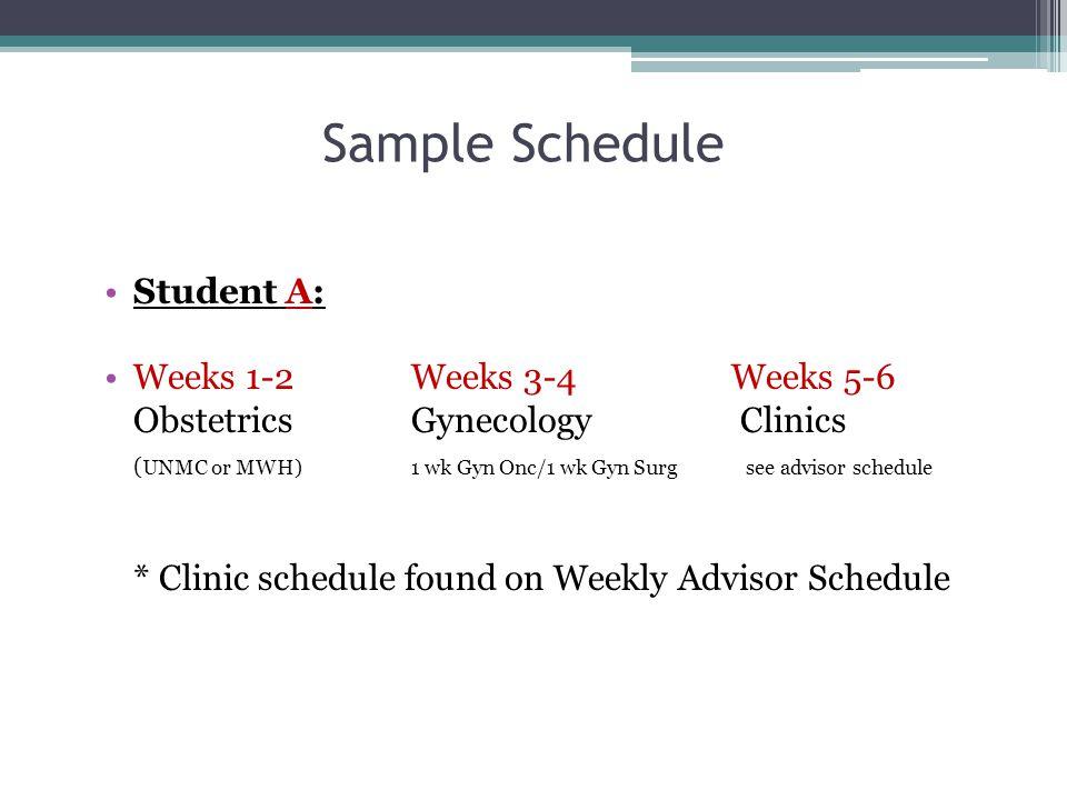 Sample Schedule Student A: Weeks 1-2 Weeks 3-4 Weeks 5-6
