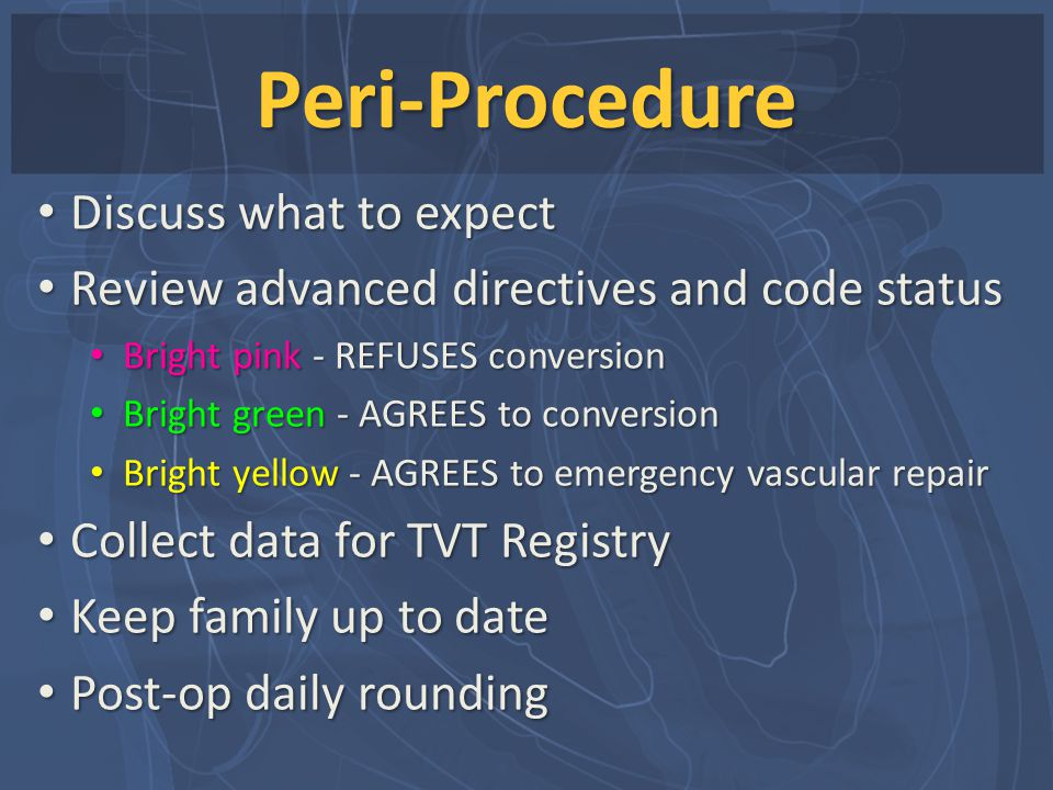Peri-Procedure Discuss what to expect