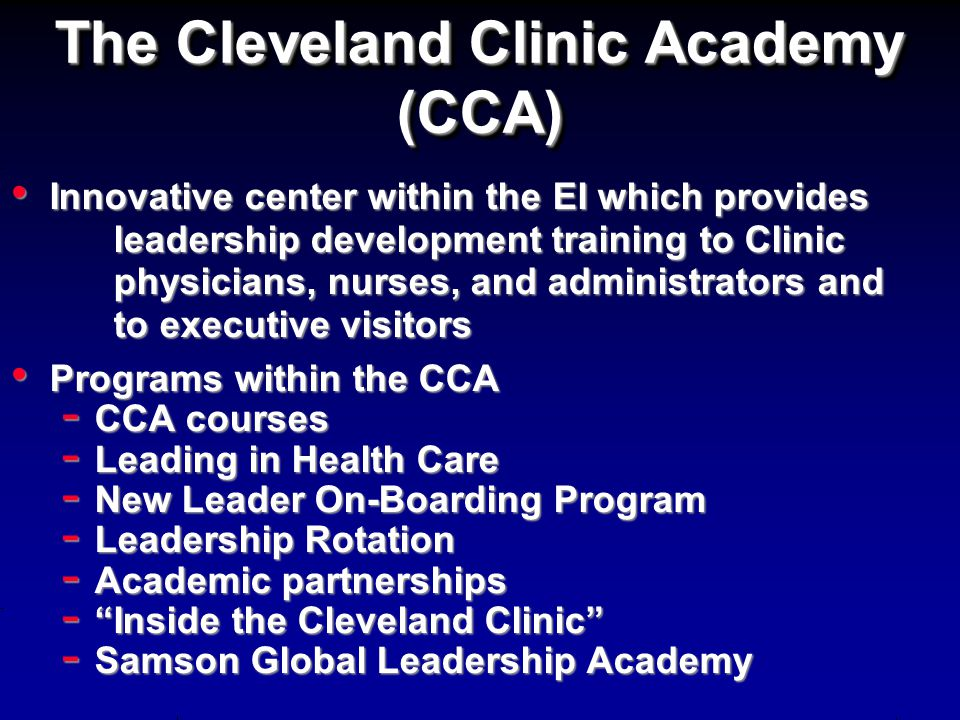 The Cleveland Clinic Academy (CCA)