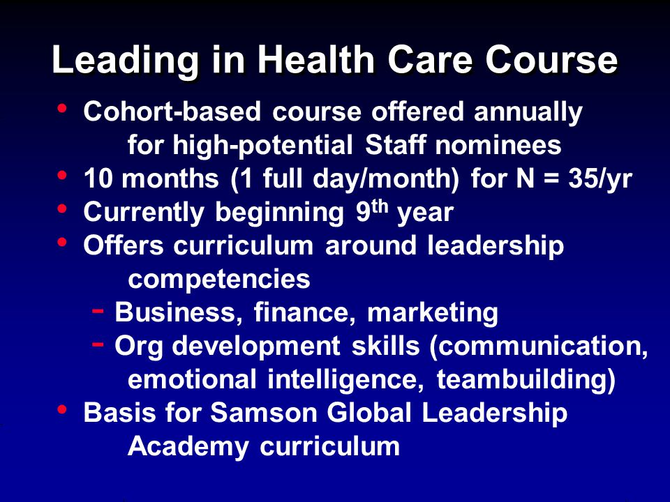 Leading in Health Care Course