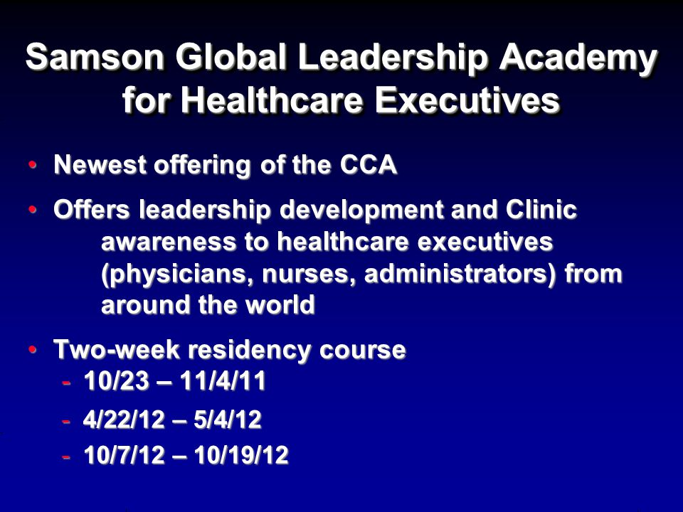 Samson Global Leadership Academy for Healthcare Executives