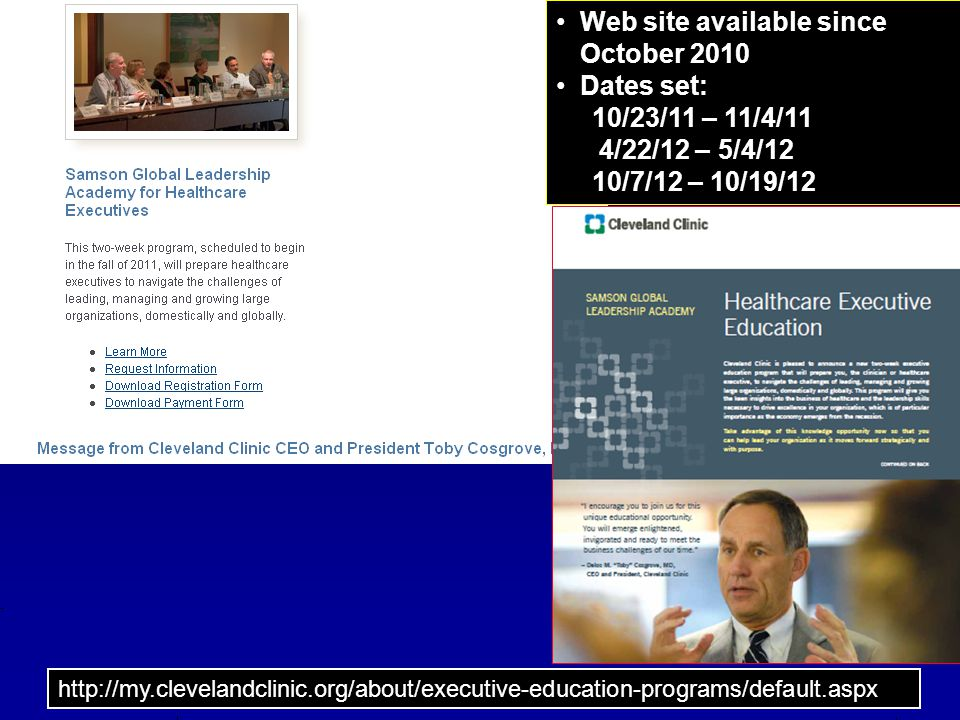 Web site available since October 2010 Dates set: 10/23/11 – 11/4/11