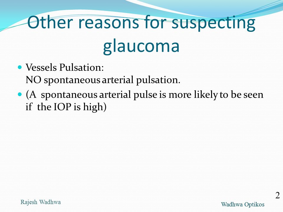 Other reasons for suspecting glaucoma
