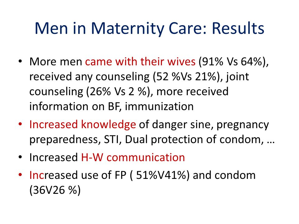 Men in Maternity Care: Results