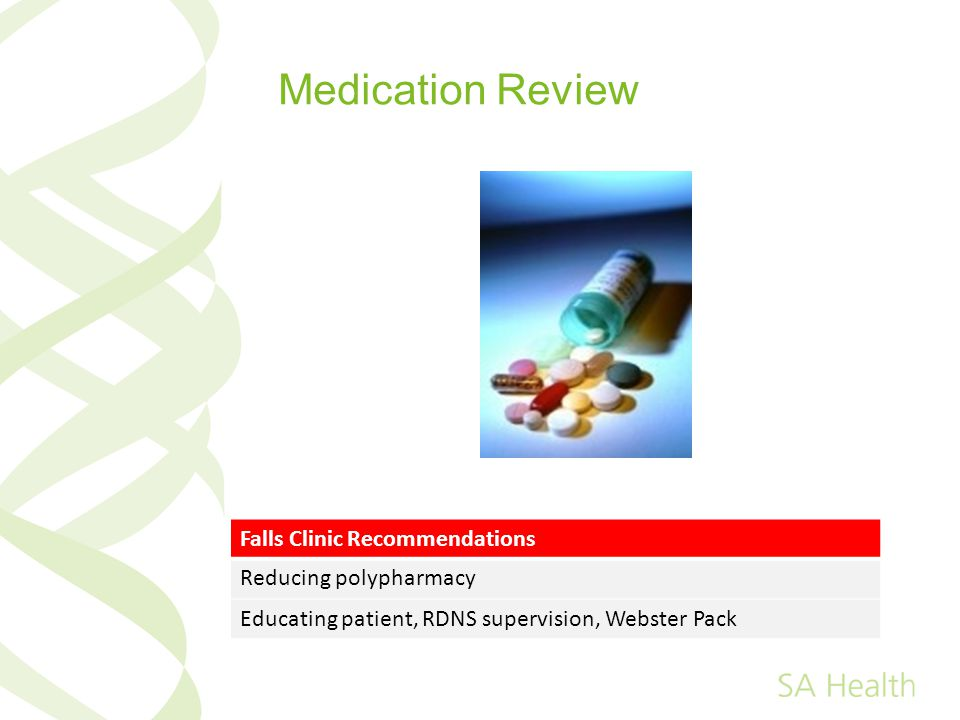 Medication Review Falls Clinic Recommendations Reducing polypharmacy