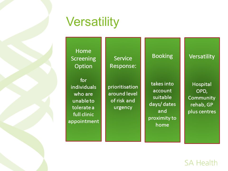 Versatility Home Screening Option Booking Versatility
