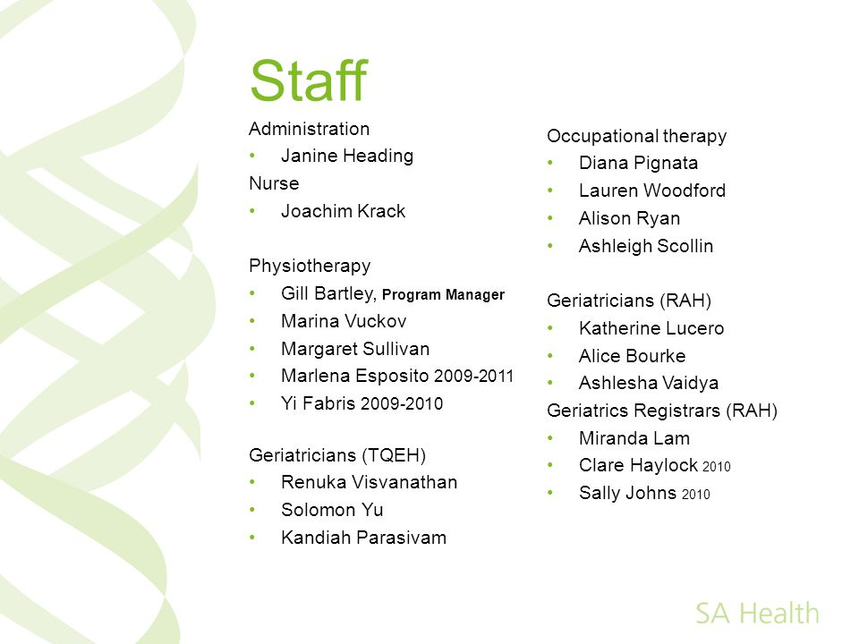 Staff Administration Occupational therapy Janine Heading Diana Pignata