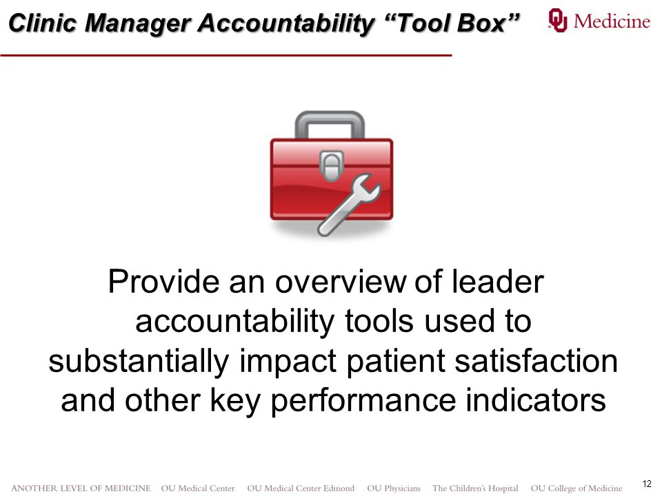 Clinic Manager Accountability Tool Box