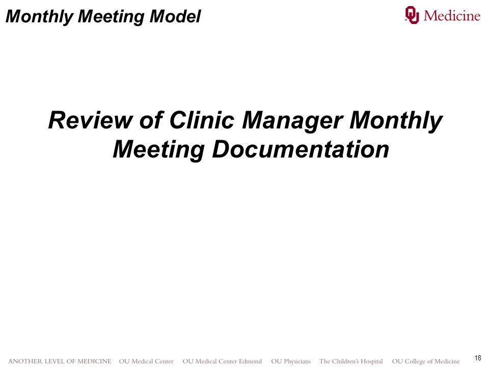 Review of Clinic Manager Monthly Meeting Documentation