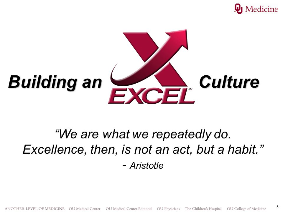Building an Culture We are what we repeatedly do. Excellence, then, is not an act, but a habit.