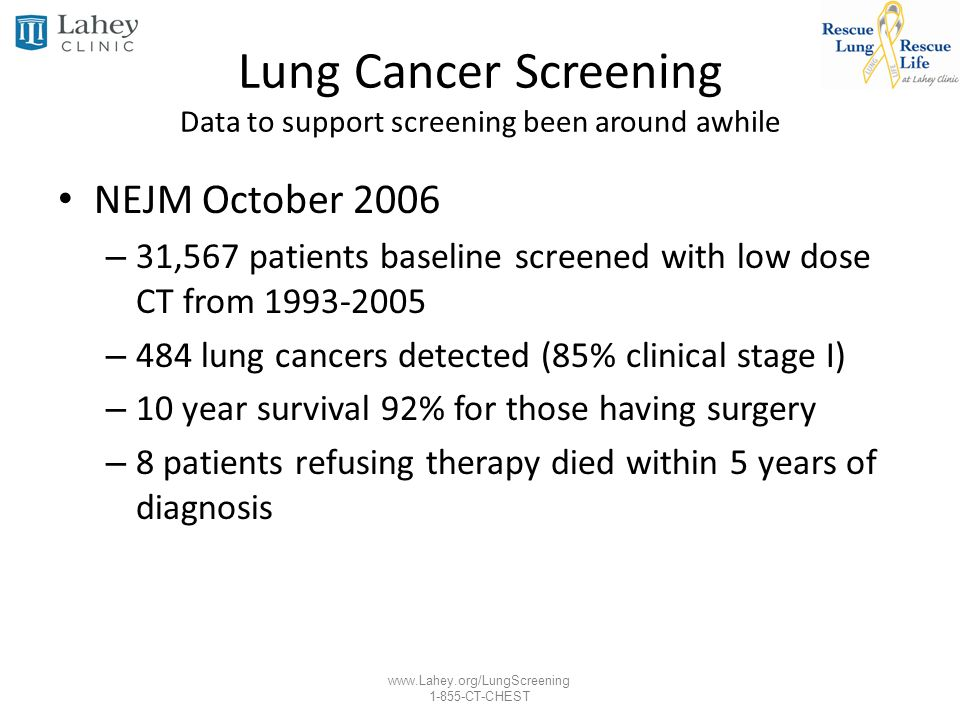 Lung Cancer Screening Data to support screening been around awhile
