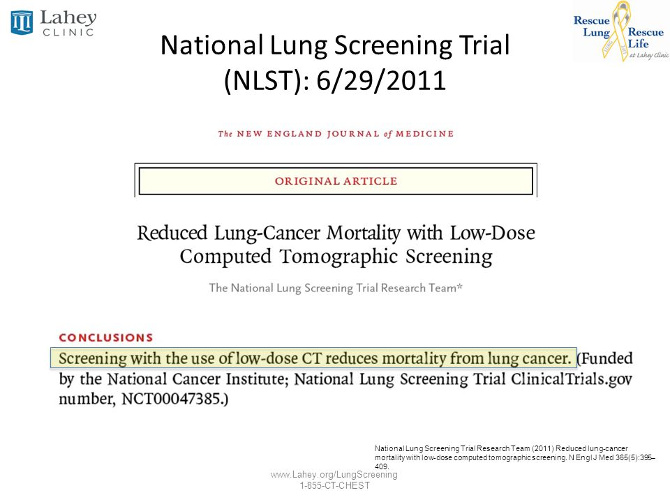 National Lung Screening Trial (NLST): 6/29/2011