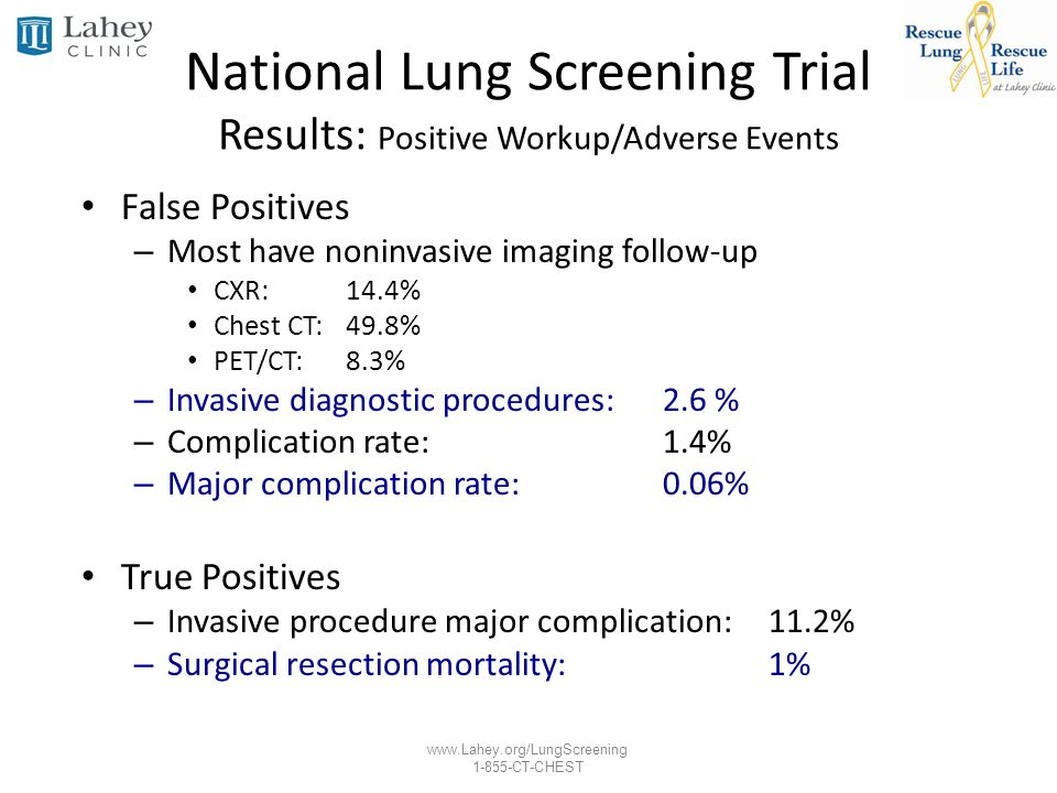 National Lung Screening Trial Results: Positive Workup/Adverse Events